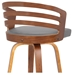 Justin Modern Walnut + Gray Faux Leather Counter Stool - Back Detail View