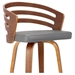Justin Modern Stool - Gray Faux Leather + Walnut