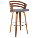 Justin Modern Walnut + Gray Faux Leather Counter Stool