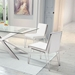 Kaden White Leatherette + Brushed Steel Modern Dining Chair