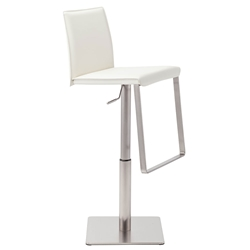 Kailee White Leather + Brushed Stainless Steel Modern Adjustable Height Bar + Counter Stool