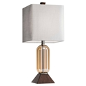 Kaleva Walnut Stained Base Amber Glass Body Contemporary Table Lamp With Textured White Fabric Shade