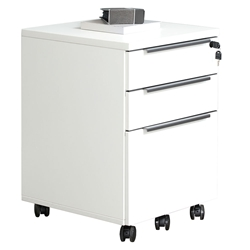 Kalmar Modern 3-Drawer Mobile File Cabinet in White