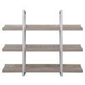 Kalmar Modern 59x48 Open Gray Washed Bookcase - Front View