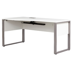 Kalmar Modern 63 Inch White + Silver Left Crescent Desk by Unique Furniture