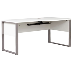 Kalmar Modern 63 Inch White + Silver Right Crescent Desk by Unique Furniture
