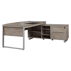 Kalmar Grey Washed Executive Bowfront Desk w/ Right Cabinet