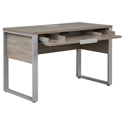Kalmar Modern Home Office Desk in Gray Washed Laminate - Open Drawer
