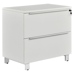 Kalmar Modern Lateral File Cabinet in White + Silver