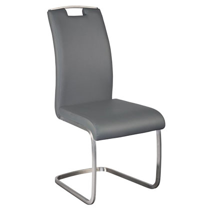Kansas Gray Leatherette + Brushed Stainless Steel Modern Dining Side Chair