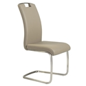Kansas Taupe Leatherette + Brushed Steel Modern Dining Side Chair