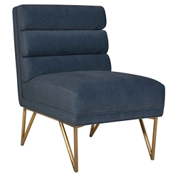 Katy Modern Blue Velvet + Gold Steel Accent Chair