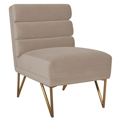 Katy Modern Cream Velvet + Gold Steel Accent Chair