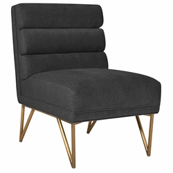 Katy Modern Grey Velvet + Gold Steel Accent Chair
