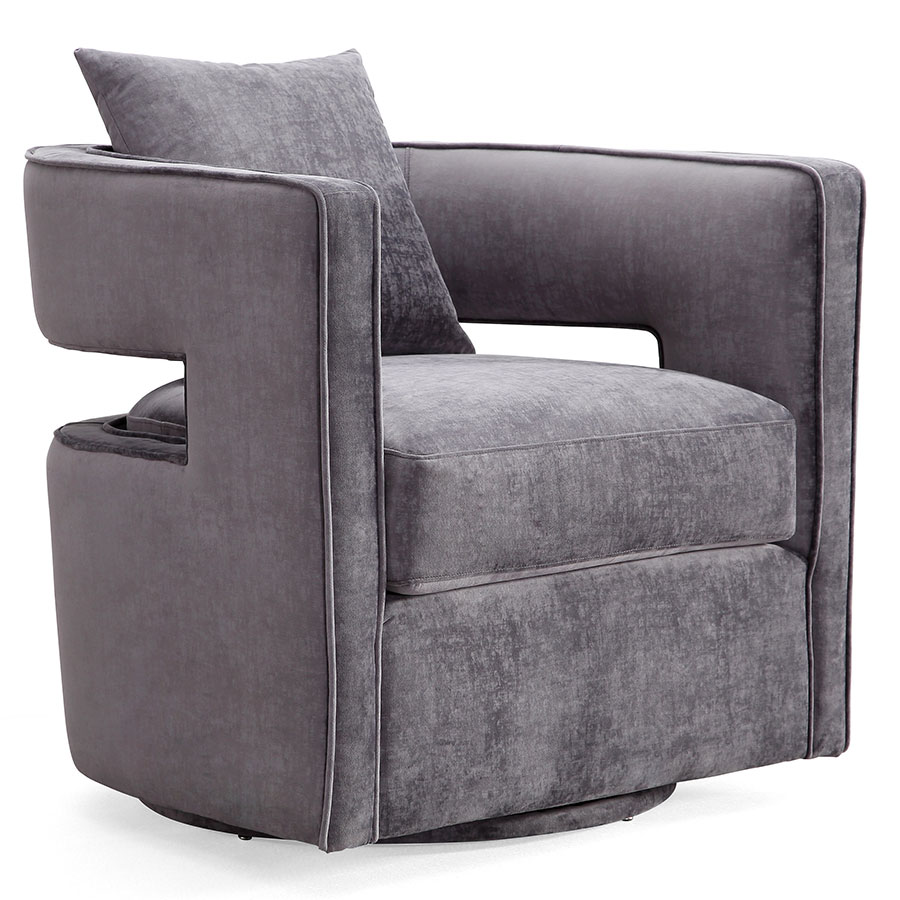 Call To Order Katz Modern Swivel Chair In Gray Velvet