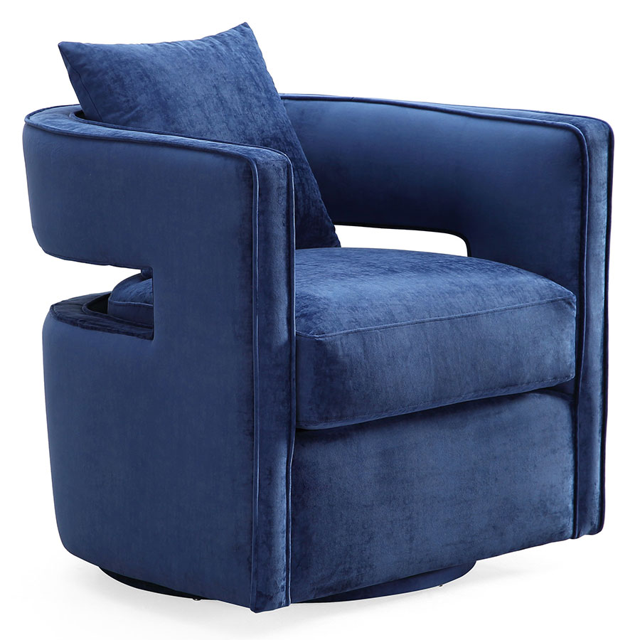 Call To Order Katz Modern Swivel Chair In Navy Velvet