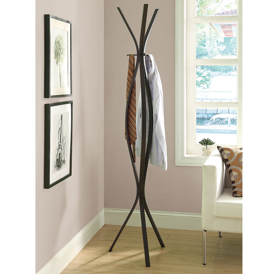 Kayla Contemporary Cappuccino Coat Rack
