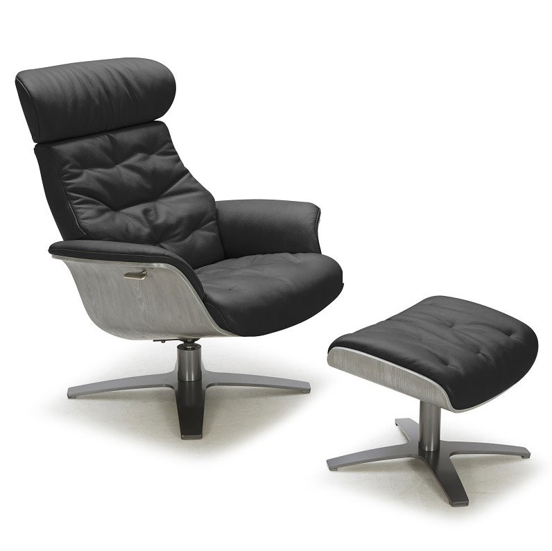 Exceptional Keller Black Italian Leather + Plywood Modern Lounge Chair + Ottoman