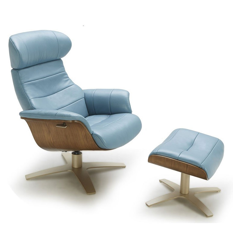 Charmant Call To Order · Keller Blue Italian Leather + Plywood Modern Lounge Chair +  Ottoman