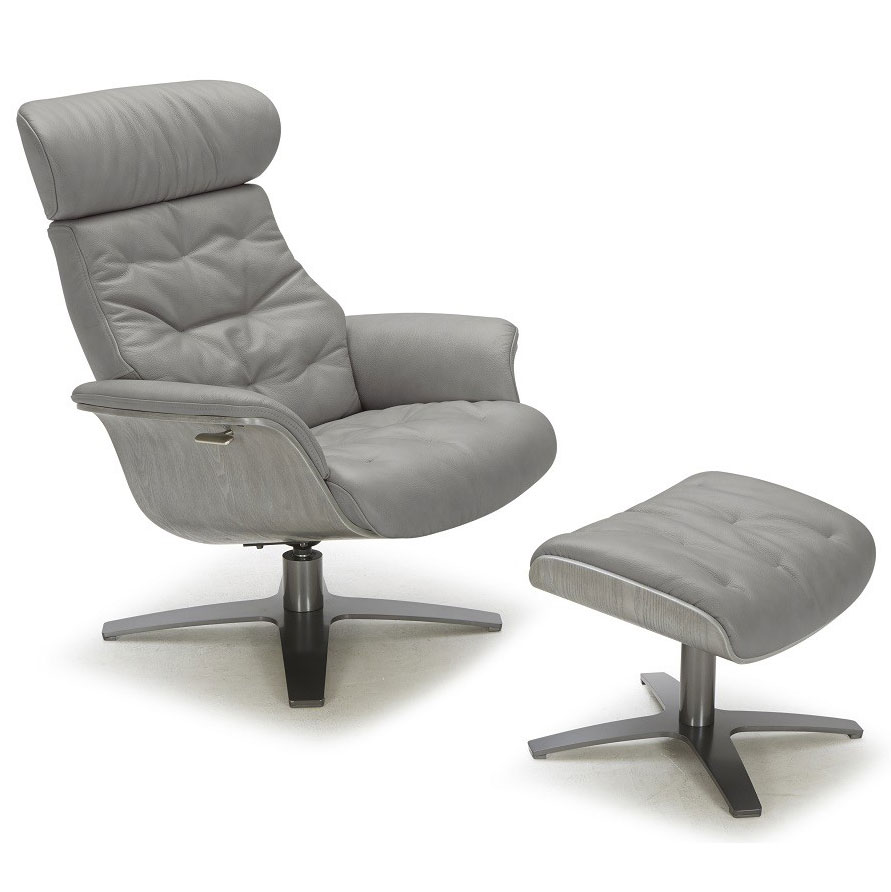 Keller Gray Leather Lounge Chair Ottoman Eurway