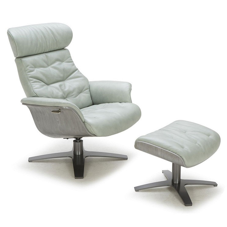 Charmant Call To Order · Keller Mint Green Italian Leather + Plywood Modern Lounge  Chair + Ottoman