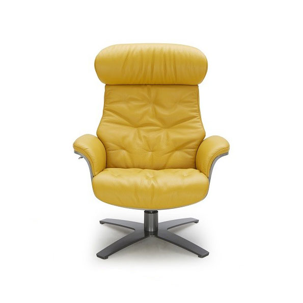 Keller Mustard Leather Lounge Chair Ottoman Eurway