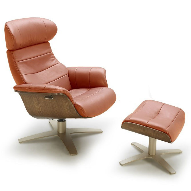 Call To Order · Keller Pumpkin Italian Leather + Plywood Modern Lounge Chair  + Ottoman