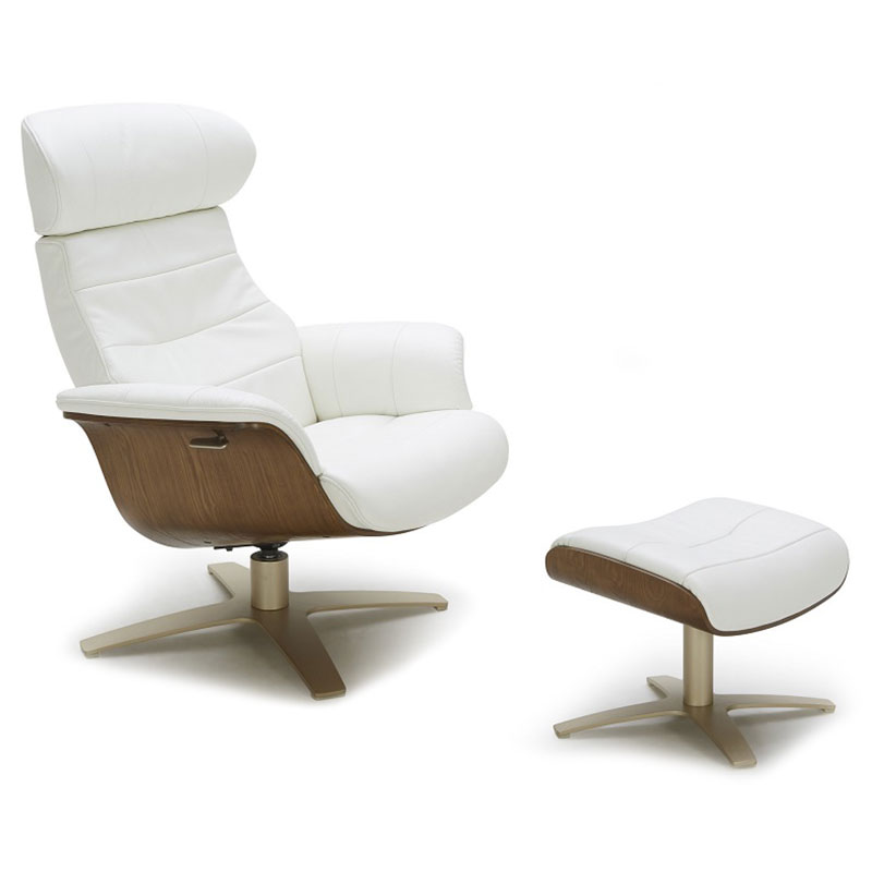 Keller Modern Leather Lounge Chair + Ottoman