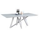 Kelsey Modern Gray Glass Top Dining Table