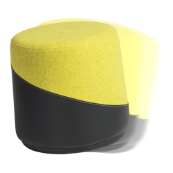 Kenny Yellow Fabric + Black Leatherette Modern Balance Stool
