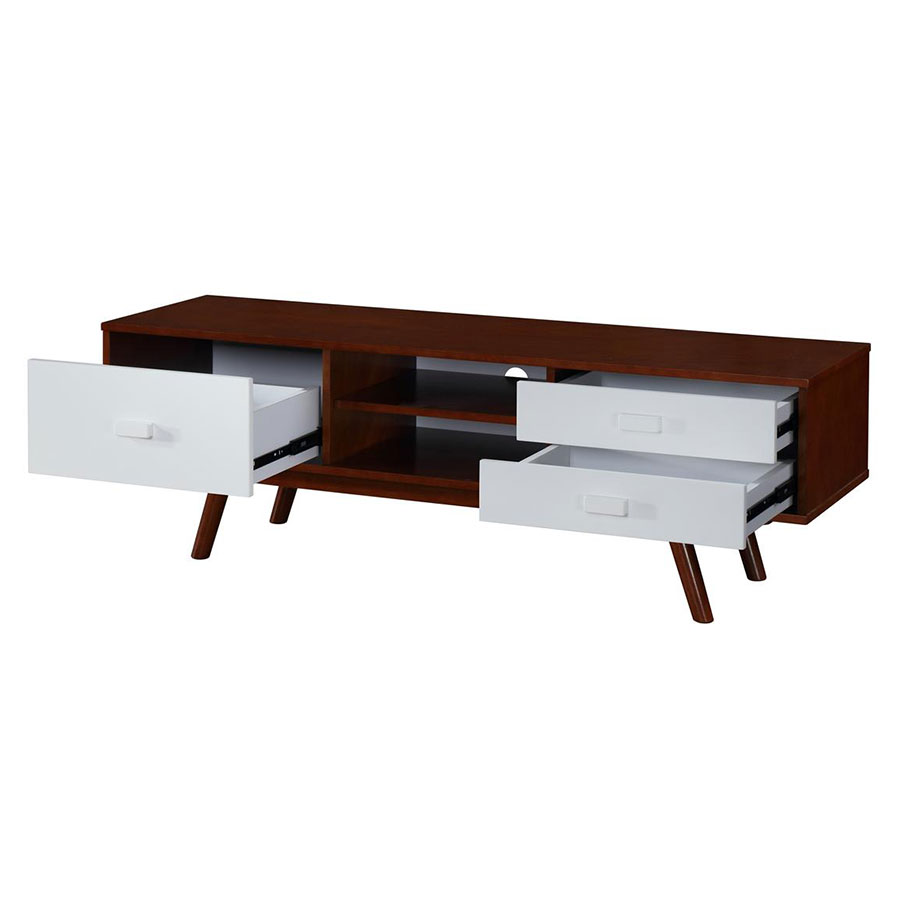 kenova modern walnut tv stand drawers