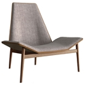 Modloft Kent Modern Lounge Chair in Gray Denim Fabric Upholstery, Aged Caramel Leather and Dark Teak Wood