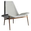 Modloft Kent Contemporary Lounge Chair in Raw Linen and Teak Wood