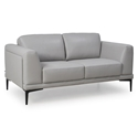 Kinney Modern Light Gray Genuine Leather Loveseat