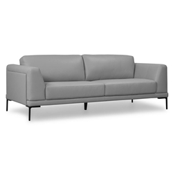 Kinney Modern Light Gray Genuine Leather Sofa