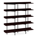 BDi Kite Modern 5-Tier Shelving Unit in Charcoal Stained Ash + Black Steel Frame