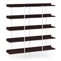 BDi Kite Modern 5-Tier Shelving Unit in Charcoal Stained Ash + White Steel Frame