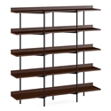 BDi Kite Modern 5-Tier Shelving Unit in Chocolate Stained Walnut + Black Steel