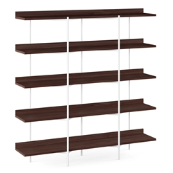 BDi Kite Modern 5-Tier Shelving Unit in Chocolate Stained Walnut + White Steel