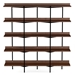 BDi Kite Modern 5-Tier Shelving Unit in Toasted Walnut + Black Steel Frame - Front