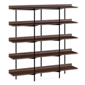 BDi Kite Modern 5-Tier Shelving Unit in Toasted Walnut + Black Steel Frame