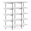 BDi Kite Modern 5-Tier Shelving Unit in Satin White + Black Steel Frame