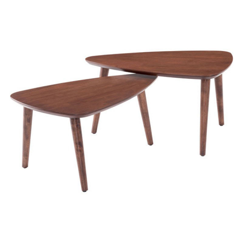 walnut finish modern curved triangular nesting coffee tables round wood table canada