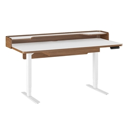 Kronos Satin White + Natural Walnut Modern Raising Sit-Stand Lift Desk