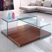 Krystal Walnut Wood + Clear Bent Glass Modern Coffee Table - Room Shot