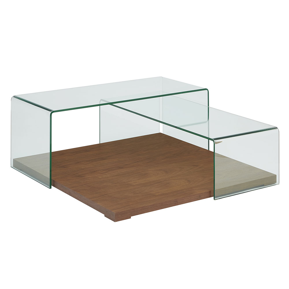 Krystal Clear Glass + Walnut Wood Modern Coffee Table