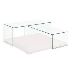 Krystal Clear Glass + White Wood Modern Coffee Table