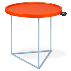 Gus* Modern x LUUM Porter Contemporary End Table with Custom Blue Powder Coated Steel Base and Solid Orange Wood Top