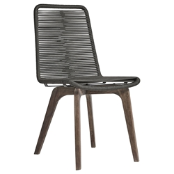 Modloft Laced Modern Indoor + Outdoor Dining Chair in Dark Gray Cord + Weather Eucalyptus