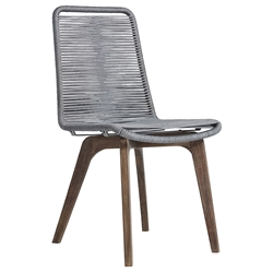 Modloft Laced Modern Indoor + Outdoor Dining Chair in Light Gray Cord + Weather Eucalyptus